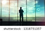 silhouette of a trader in the... | Shutterstock . vector #1318751357