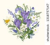 spring bouquet. wild and garden ...   Shutterstock .eps vector #1318757147