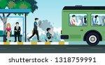 children and adults wear masks... | Shutterstock .eps vector #1318759991