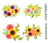flowers set. collection of... | Shutterstock .eps vector #1318798487