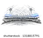 sketch of cricket stadium view... | Shutterstock .eps vector #1318815791