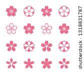 sakura cherry blossoms icon set | Shutterstock .eps vector #1318831787