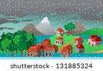 town or village houses in flood ... | Shutterstock .eps vector #131885324