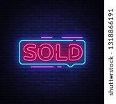 sold neon text vector. sold...   Shutterstock .eps vector #1318866191