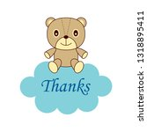 cute teddy bear thank you card | Shutterstock .eps vector #1318895411