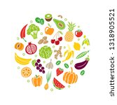 hand drawn healthy food. fruits ... | Shutterstock .eps vector #1318905521