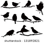 bird,branch,clip art,communication,conversation,flying,illustration,naturalistic,nature,say,silhouette,sits,sparrow,takes off,vector