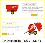 grain trailer and baler set of... | Shutterstock .eps vector #1318952741
