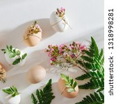 natural colored eggs decorated... | Shutterstock . vector #1318998281