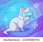 cute curious cat with vr...   Shutterstock .eps vector #1319008754