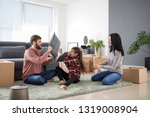 happy family fighting pillows... | Shutterstock . vector #1319008904