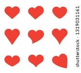 red heart shapes on white... | Shutterstock .eps vector #1319031161