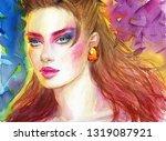 beautiful woman. fashion... | Shutterstock . vector #1319087921