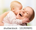 happy cheerful family. mother... | Shutterstock . vector #131909891