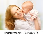happy cheerful family. mother... | Shutterstock . vector #131909915