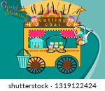 Street food stall.Authentic indian tea-cutting chai.Street tea vendor-chai wala in Mumbai.Vector for design flyer,invitation, card, poster.