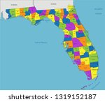 colorful florida political map... | Shutterstock .eps vector #1319152187