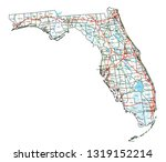 florida road and highway map.... | Shutterstock .eps vector #1319152214