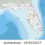 high detailed florida road map... | Shutterstock .eps vector #1319152217