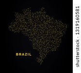 brazil map of golden glitters... | Shutterstock .eps vector #1319160581