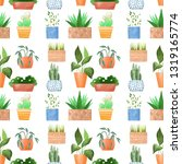 potted plants. colorful cartoon ... | Shutterstock . vector #1319165774