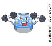 fitness police car on a cartoon ... | Shutterstock .eps vector #1319176247