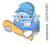 playing baseball police car on... | Shutterstock .eps vector #1319176307