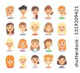 set of caucasian female...   Shutterstock .eps vector #1319209421
