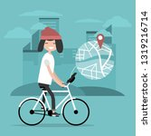 young character riding a bike... | Shutterstock .eps vector #1319216714