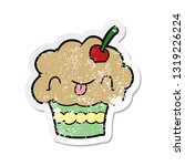 distressed sticker of a cartoon ... | Shutterstock .eps vector #1319226224