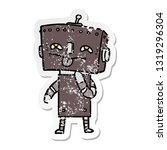 distressed sticker of a cartoon ... | Shutterstock .eps vector #1319296304