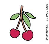 cherry fruit isolated icon | Shutterstock .eps vector #1319324201