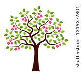 vector flowering tree isolated... | Shutterstock .eps vector #1319372801