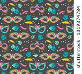 seamless pattern with carnival... | Shutterstock .eps vector #1319374784