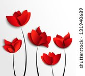 Five Red Paper Flowers On Whit...