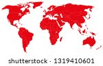 red world map silhouette | Shutterstock .eps vector #1319410601