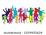 happy family  dancing... | Shutterstock .eps vector #1319432624