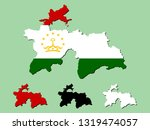 tajikistan map with national... | Shutterstock .eps vector #1319474057