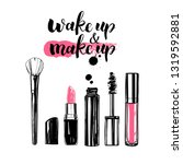make up set. hand drawn vector... | Shutterstock .eps vector #1319592881