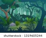 cartoon tropical jungle... | Shutterstock . vector #1319605244