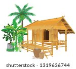 straw hut with vegetable vector ... | Shutterstock .eps vector #1319636744