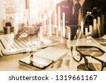 double exposure businessman and ...   Shutterstock . vector #1319661167