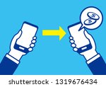 cashless with smartphone | Shutterstock .eps vector #1319676434