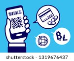 cashless with smartphone | Shutterstock .eps vector #1319676437