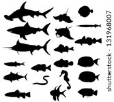 collection of saltwater fishes... | Shutterstock .eps vector #131968007
