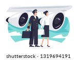 Flat Man And Woman Aircrew In...