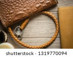vintage genuine leather wallet... | Shutterstock . vector #1319770094
