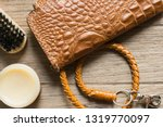 vintage genuine leather wallet... | Shutterstock . vector #1319770097