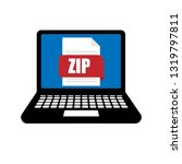 laptop with zip file. notebook...