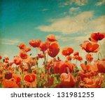 Vintage Poppy Field Against...